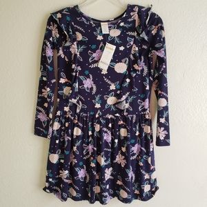 Gymboree Girls Navy Floral Ruffle Dress Size L New